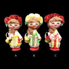 【新品】BULGARIA ブルガリア 民族木製 ハンドメイド 人形 (東欧雑貨 マトリョウシカ) 076892