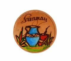 【新品】Paraguay handmade パラグアイ ハンドメイド レザーマグネット (Mate tea マテ茶) 080666