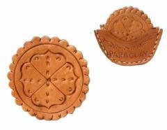 【新品】Paraguay handmade パラグアイ ハンドメイド レザーコースター 5枚セット (Mate tea マテ茶) 080675