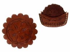 【新品】Paraguay handmade パラグアイ ハンドメイド レザーコースター 5枚セット (Mate tea マテ茶) 080676