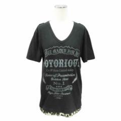 LA GATE エルエーゲート「2」レオパ切替 ロゴ Tシャツ (半袖カットソー) 081879