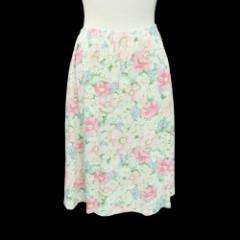 KORET FRANCISCA コレット フランシスカ「M」オフホワイト 花柄 カットソー vスカート (アメリカ製 Made in USA) 086432