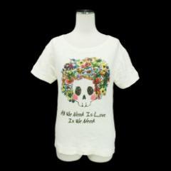 LISTEN HEARTBEAT リッスンハートビート「M」クリーム スカル フラワー 半袖 Tシャツ (ショートパンツ) 086732