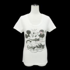 Disney ディズニー「M」スパンコール ミッキー& ミニーTシャツ 088273