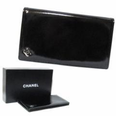 新品同様 CHANEL シャネル ブラック エナメルレザーロングウォレット・長財布 (黒 革 皮) 089913