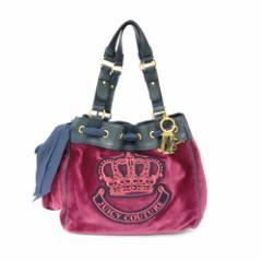【新品】JUICY COUTURE ジューシークチュール 王冠 ベロアハンドバッグ (トート レザー) 090038