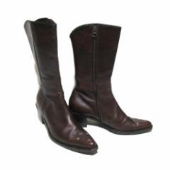 美品 IL PIEDE イルピエデ「38」イタリア製 レザーウエスタンブーツ (皮 革 靴 シューズ) 090264