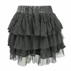 CUTIE BEAUTY キューティービューティ「L」ブラックフリルチュールスカート (黒) 091613