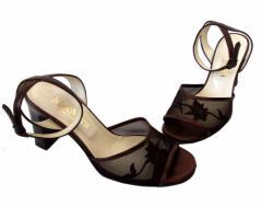 MAXMARA マックスマーラー「36」シースルー刺繍ヒールサンダル (靴 パンプス) 092088