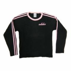 adidas アディダス「150」ライン ロングスリーブ Tシャツ (黒) 093294