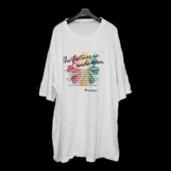 【新古品】90s Vintage converse 80年代ヴィンテージコンバース「5L」スニーカープリントTシャツ (半袖 白) 095955