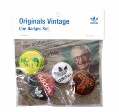 Vintage adidas ヴィンテージ アディダス クラシック缶バッチ 4個セット (バッジ ブローチ ピンズ) 096457