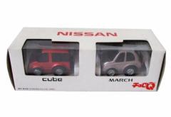 新品同様 TAKARA チョロQ 旧タカラトミー 非売品キューブ、マーチ ミニカー (NISSAN cube MARCH 日産自動車 限定) 096754