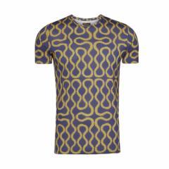 【新古品】Vivienne Westwood ヴィヴィアンウエストウッド イタリア製 ゴールド×ブルー スクイーグルTシャツ (日本未入荷 半袖) 096818
