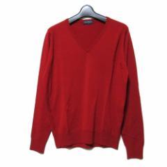 美品 JOHN SMEDLEY ジョンスメドレー「M」イギリス製 レッドVネックニットセーター (メンズ 長袖 英国製) 096938