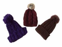 Select セレクト リアルファーボンボンニットキャップ 3個セット (毛皮 ラビット 帽子 ビーニー) 097731