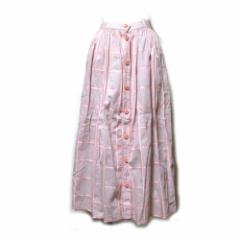 Vintage ATUKI ONISHI ヴィンテージ アツキオオニシ タータンチェックロングスカート (ピンク A.O.) 098424【中古】