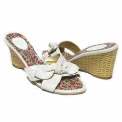 ANNA SUI アナスイ「L」リボンヒールレザーサンダル (白 ホワイト 靴 パンプス) 099205
