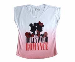 新品同様 Disney ディズニー ハリウッドTシャツ (白 半袖 ミッキーマウス ミニーマウス) 099267