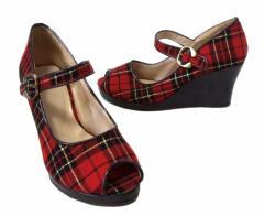 Girls&Queen ガールズアンドクイーン タータンチェックヒールパンプス (赤 シューズ 靴 ロリパンク) 099578