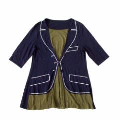美品 Angelina アンジェリーナ レイヤードTシャツ (紺 半袖) 099964