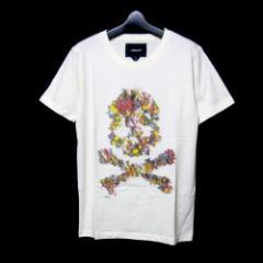 美品 rehacer レアセル「S」ネックレス付 転写Tシャツ (白 花柄 チョーカー ペンダント) 100446