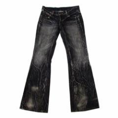 美品 GRZ&M グラズム グランジ加工デニムパンツ (黒 ブラック) 100829