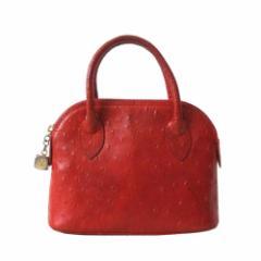 LEXA レクサ イタリア製 2wayオーストリッチレザーショルダーバッグ (赤 ハンドバッグ 鞄 皮 革 ポシェット) 101122