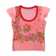 BLUEMARLIN ブルーマリン イタリア製 ローズカットソー (ピンク 半袖 Tシャツ 薔薇) 101128