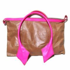 廃盤 Vivienne Westwood ヴィヴィアンウエストウッド ダイヤグロウレザーボストンバッグ (茶色 ピンク 革 皮) 101447