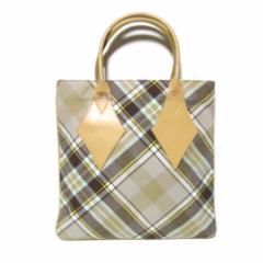 廃盤 Vivienne Westwood ヴィヴィアンウエストウッド イタリア製 マックマラタータンチェックトートバッグ (茶 鞄) 101788