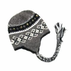 美品 PWALA PWALA プワラプワラ「FREE」フィッシャーマンニットキャップ (ネパール 鳥打帽 耳付き) 102037