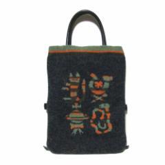 廃盤 Vivienne Westwood ヴィヴィアンウエストウエストウッド エスニックニットトートバッグ (黒グレー 鞄) 102038【中古】