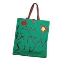 美品 廃盤 Vivienne Westwood ヴィヴィアンウエストウッド I AM EXPENSIV トートバッグ (緑 鞄 レザーチャーム付) 102487