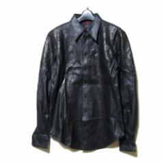 難有 [SALE] Jean Paul GAULTIER HOMME ジャンポールゴルチエ オム「48」グランジレザーシャツ (ゴルチェ 黒 長袖) 102505