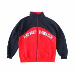 美品 PIKO ピコ「M」フルジップスエットジャケット (赤 紺 サーフ ハワイ) 102539