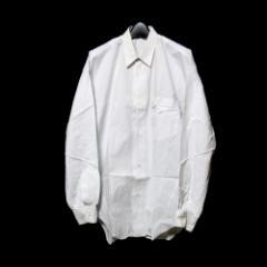 Vintage ISSEY MIYAKE MEN イッセイミヤケ メン スタンドカラーカッターシャツ (白 ピンストライプ) 102609
