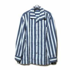 Vintage ISSEY MIYAKE MEN イッセイミヤケ メン「M」ワイドシルエット囚人ストライプシャツ (紺 80年代ヴィンテージ) 102619