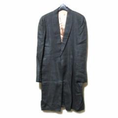 Jean Paul GAULTIER HOMME ジャンポールゴルチエ オム「50」イタリア製 1Dドレープコート (ゴルチェ 黒グレー ロングジャケット) 102636