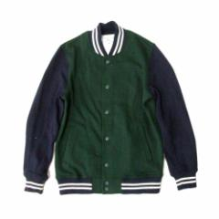 HVC エイチブイシー「M」スエットスタジャン (グリーン 紺 ジャケット ブルゾン) 102752