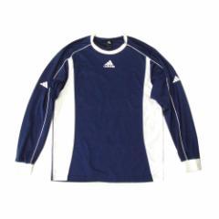 adidas アディダス「L」スポーツ長袖Tシャツ (長袖 速乾性 紺 ネイビー 白) 102836