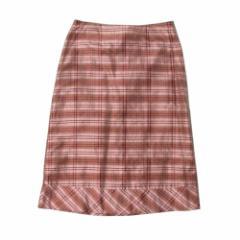 美品 Whistles ホイッスルズ 「UK8」イギリス製 タータンチェックシルクスカート (ピンク 絹) 102957
