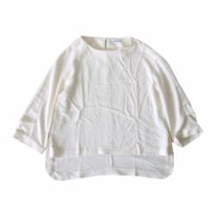 美品 JEANASIS ジーナシス ワイドデザインカットソー (白 Tシャツ 半袖) 103433