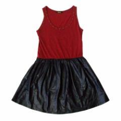 美品 Rich リッチ ドレープデザインワンピース (赤 黒 ドレス) 103824