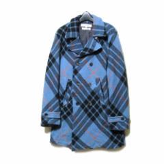 COMME des GARCONS SHIRT コムデギャルソン シャツ「S」フランス製 タータンチェックピーコート (ジャケット Pコート ) 103970