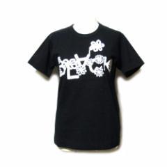 美品 BLACK COMME des GARCONS ブラック コムデギャルソン「M」2011 限定フラワーロゴTシャツ (黒 半袖 コラボレーション) 104009