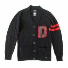 美品 DIESEL ディーゼル 「XS」ラインニットカーディガン (黒 エンブレム メンズ) 104118