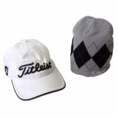 Titleist タイトリスト  ロゴキャップ,ニットキャップ 2点セット (白 ゴルフ Golf 帽子 ビーニー) 104127