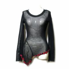 美品 Jean Paul GAULTIER ジャンポールゴルチエ「40」パワーネットシースルーアシンメトリーカットソー (黒 Tシャツ) 104288