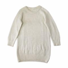 gu UNIQLO ジーユー ユニクロ ローゲージチュニックニットワンピース (白 ロングニットセーター) 105220